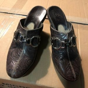 Cole Haan :Leather Tooled Wedge Mules 6.5 Brown
